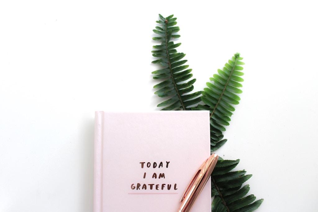 Ρόζ σημειωματάριο και ένα στυλό.